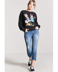 Forever 21 Black Daisy Duck & Minnie Mouse Graphic Sweatshirt
