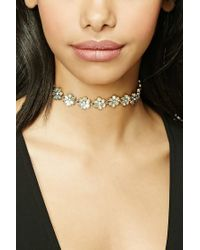 Forever 21 | Metallic Floral Faux Gem Choker | Lyst