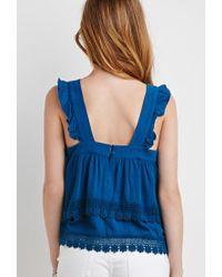 Forever 21 - Blue Crochet-trimmed Flounce Top - Lyst