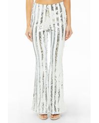 Forever 21 Multicolor Striped Sequin Flare Pants , White/silver