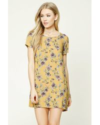 Forever 21 | Yellow Floral Print Shift Dress | Lyst