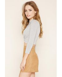 Forever 21 - Gray Mock Neck Twisted Crop Top - Lyst