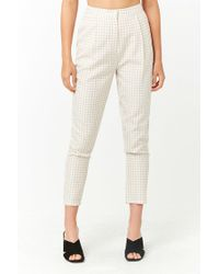 Forever 21 White Women's Pleated Gingham Trousers