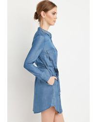Forever 21 Blue Belted Chambray Shirt Dress