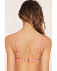 Forever 21 - Red Striped Triangle Bikini Top - Lyst