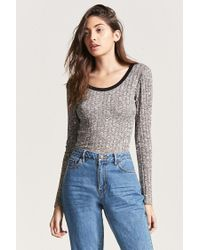 Forever 21 Multicolor Contrast Ribbed Knit Top
