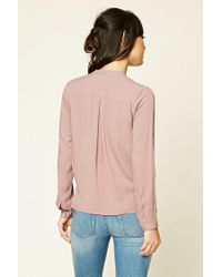 Forever 21 - Pink Contemporary Surplice Top - Lyst