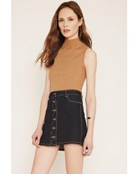 Forever 21 - Brown Contemporary Mock Neck Top - Lyst