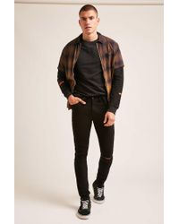 Forever 21 - Black Distressed Knee Skinny Jeans for Men - Lyst