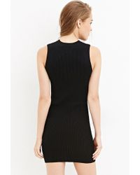 Forever 21 - Black Ribbed Bodycon Dress - Lyst