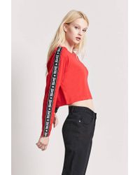 Forever 21 Red Worldwide Graphic Crop Tee