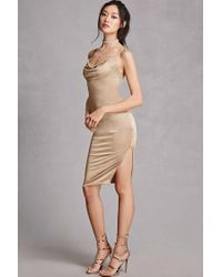 070e49426e6 Forever 21 Satin Cowl Neck Slip Dress in Metallic - Lyst