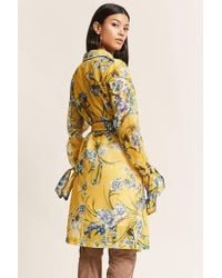 Forever 21 | Yellow Sheer Mesh Floral Trench Coat | Lyst
