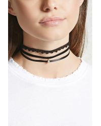 Forever 21 | Multicolor Velvet Crochet Ribbon Choker Set | Lyst