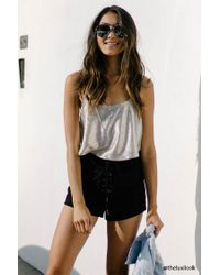 Forever 21 Black Faux Suede Lace-up Shorts