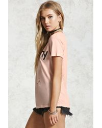 Forever 21 Multicolor Distressed Peachy Graphic Tee