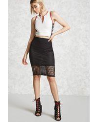 Forever 21 - Black Mesh Knit Pencil Skirt - Lyst