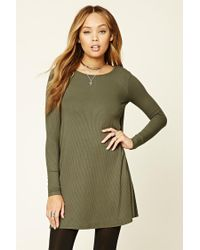 c4ab82957 Forever 21 Ribbed Knit Swing Dress in Green - Lyst
