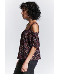 Forever 21 | Black Floral Open-shoulder Top | Lyst
