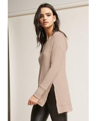 Forever 21 Natural High-low Ribbed Top