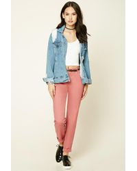Forever 21 Pink Contemporary Belted Trousers