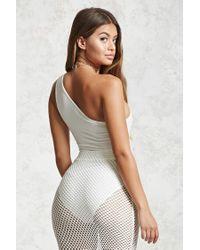 Forever 21 White One-shoulder Bodysuit