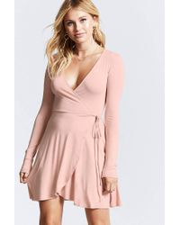f72169c113 Lyst - Forever 21 Mock-wrap Dress in Pink