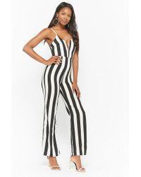 Forever 21 Black Women's Striped V-wire Jumpsuit