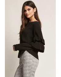 Forever 21 Black Ribbed Ruffle-sleeve Top