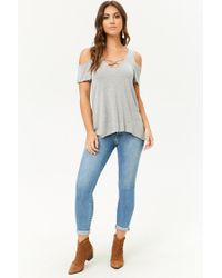Forever 21 - Gray Caged High-low Swing Top - Lyst