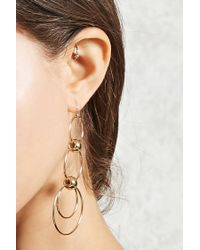 Forever 21 - Metallic Tiered Hoop Drop Earrings - Lyst