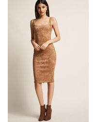 Forever 21 Brown Faux Suede Bodycon Dress