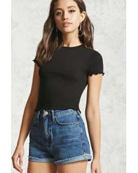 Forever 21 Black Ruffle Short Sleeve Top