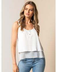Forever New White Demi Double Layer Essential Top