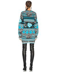 MSGM - Blue Knitted Rose Jacquard Sweater - Lyst