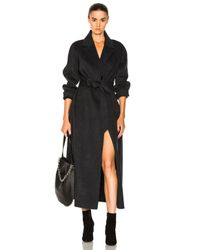 FRAME - Gray Double Faced Coat In Charcoal - Lyst