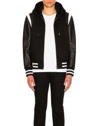 Givenchy Black Hooded Leather & Neoprene Bomber