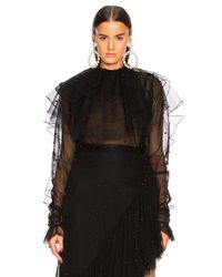 Rodarte - Tulle & Black Pearl Low Back Tiered Blouse - Lyst