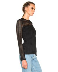 T By Alexander Wang - Black Jacquard Long Sleeve Top - Lyst