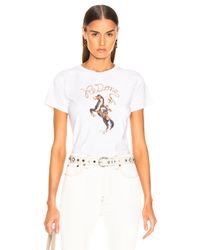 Re/done - White Classic Tee Cowgirl - Lyst