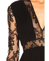 Zuhair Murad Black Georgette & Lace V Neck Gown
