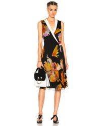 Lanvin - Black Floral Wrap Dress - Lyst
