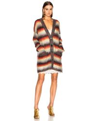 Chloé - Orange Striped Brushed Mohair Cardigan - Lyst
