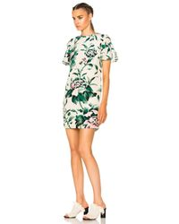 Burberry Green Anthia Printed Silk Dress