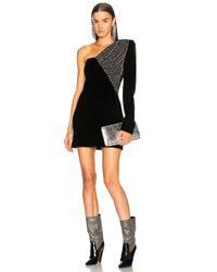 Saint Laurent Black Embellished Velvet Cupro Compact One Shoulder Dress