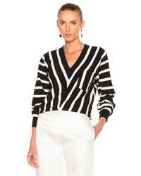 Chloé   Black Sailor Stripe V-neck Sweater   Lyst