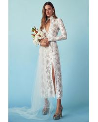 Alessandra Rich White For Fwrd L'amant Chantilly Embellished Lace Dress