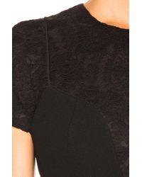 Victoria Beckham - Black Short-sleeve Lace-yoke Dress - Lyst
