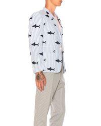 Thom Browne - Blue Seersucker Shark Embroidery Blazer - Lyst