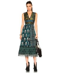 Burberry Prorsum | Blue Geometric Floral Print Silk Crepon Dress | Lyst
